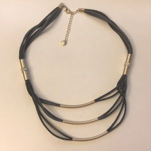 ANN TAYLOR LOFT LEATHER LAYERED NECKLACE